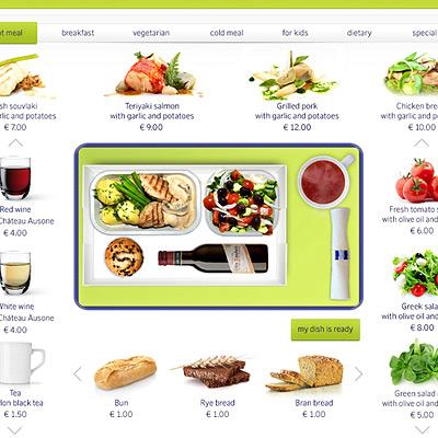 Перед полетом на сайте «Эйр Балтик» можно собрать себе обед на виртуальном подносе