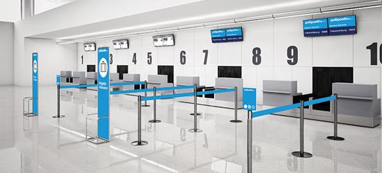 Пока «Добролет» думает, какой из московских аэропортов станет его базой, внешний вид стойки регистрации уже готов«Добролета» уже спроектирована агентством «Ландор»